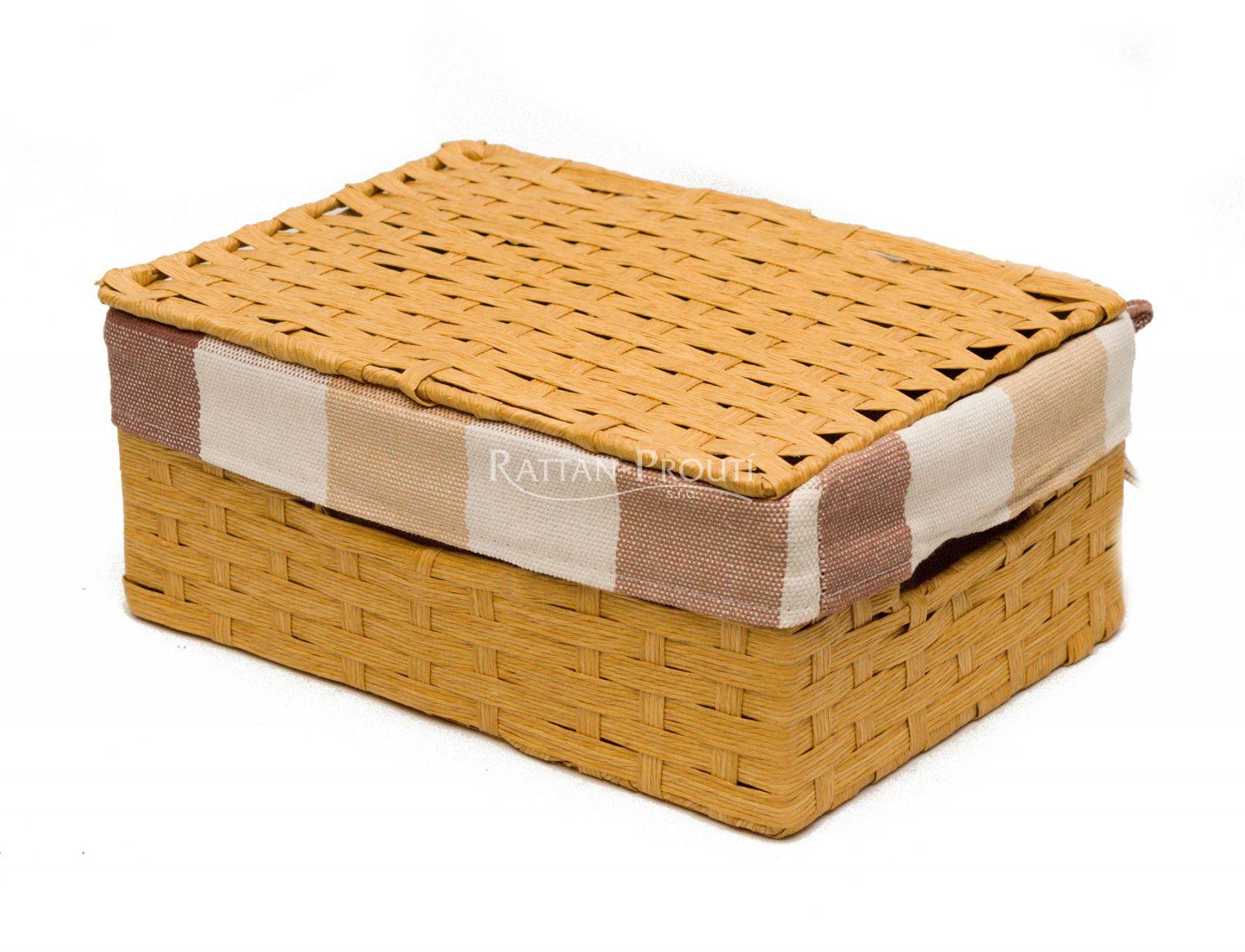 Zásuvka z lýka s látkou- BÉŽOVÁ