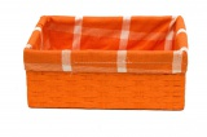 Oranžový box s látkou