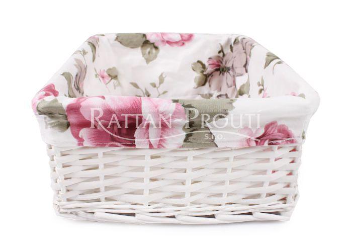Proutěný bílý košík s dekorativní látkou