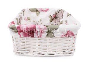 Bílý proutěný košík s  látkou -růže