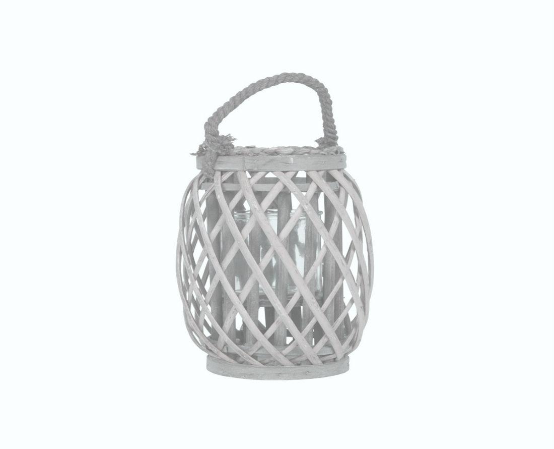 Lampion, lucerna proutěná bílá hranatá 25 cm