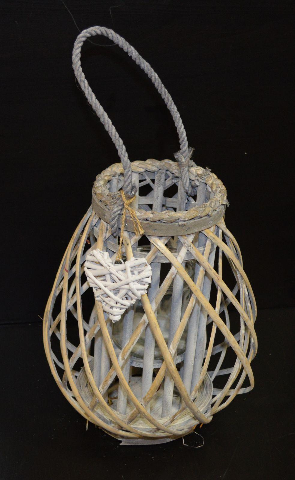 Lampion, lucerna proutěná šedá 04