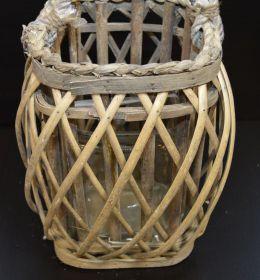 Lampion, lucerna proutěná šedá hranatá 25 cm