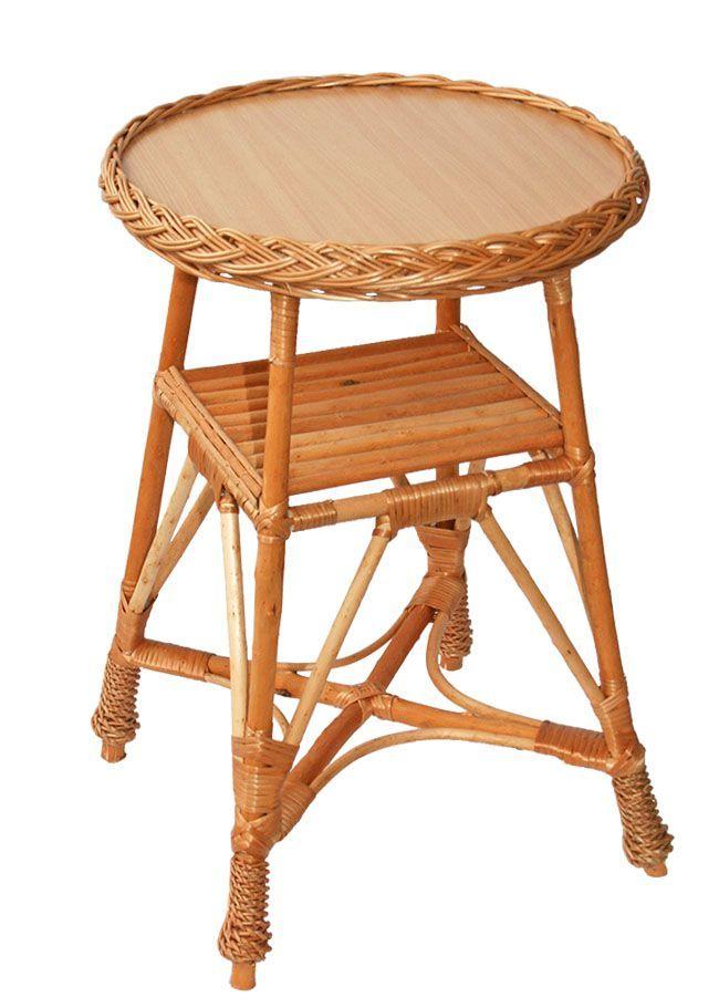 Proutěný kulatý stolek