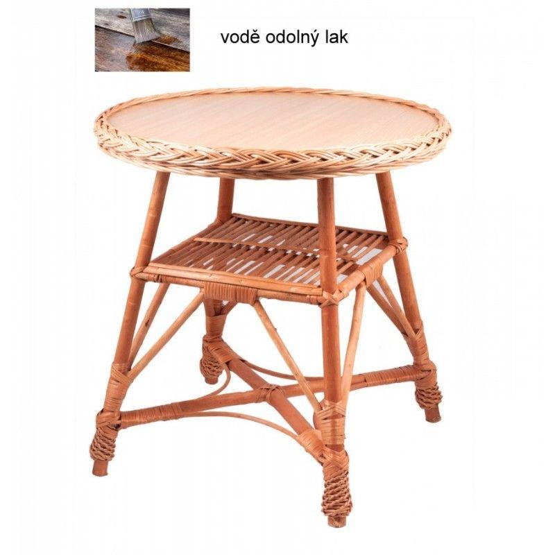 Proutěný kulatý stolek s poličkou