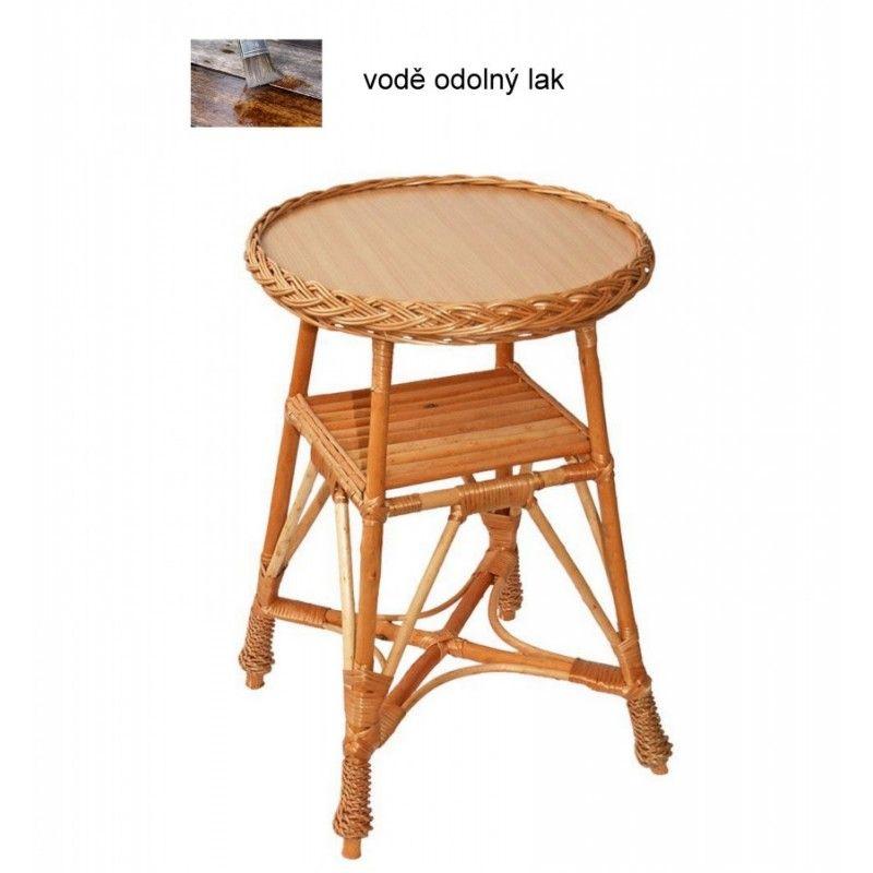 Proutěný stůl s poličkou ,kulatý malý