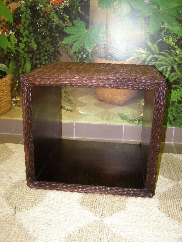 ratanový obývací stolek DENNY - tmavý