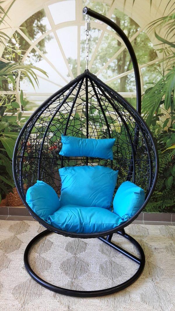 závěsné relaxační křeslo TARA - modrý sedák