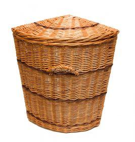Kvalitní lakovaný koš na prádlo rohový V